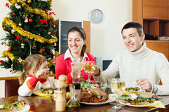 Family of three celebrating Christmas Royalty Free Stock Image