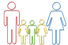 Family with three children. Colorful outline illustration of couple with three children, isolated on white background royalty free illustration