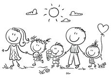 Family with three children walking outdoors, outline vector illustration