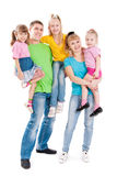 Family with three daughters stock photos