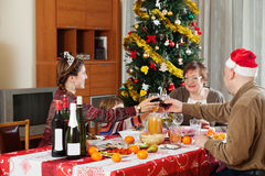 Family of three generations  celebrating Christmas Royalty Free Stock Images