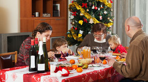 Family of three generations  celebrating Christmas Royalty Free Stock Photo