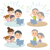 Family three generations internet communication Remote. Design Stock Photography