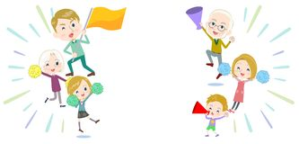 Family three generations White_Support cheering vector illustration