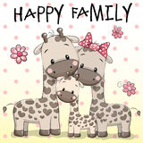 Family of Three Giraffes vector illustration