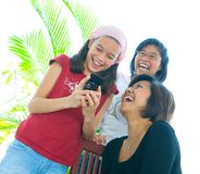 Family of three girls in fun expression Royalty Free Stock Photography