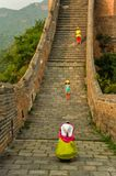 A family of three in the Golden Mountain great wall,Beijing,China stock images