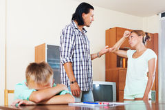 Family of three  having quarrel at home Royalty Free Stock Image