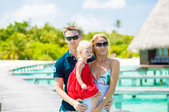 Family of three having vacation Royalty Free Stock Image