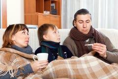 Family of three are ill. Family of three with teenage son are ill Royalty Free Stock Photos