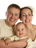 Family of three isolated. Family of three with baby isolated