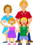Family with Three Kids/ai. Colorful crayon-like illustration of a happy family with three children...another family w/ 2 children also in my portfolio...eps Stock Image