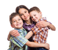 Family with three kids together Royalty Free Stock Photo
