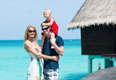 Family of three on Maldives Royalty Free Stock Photo