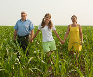 Family of Three in a Meadow Stock Photography