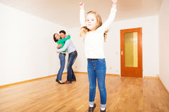 Family Of Three In New Apartment Stock Images