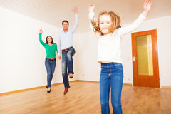 Family Of Three In New Apartment Royalty Free Stock Photos