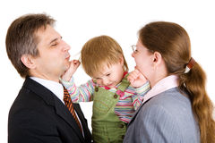 Family of three in office Stock Image