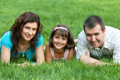 Family of three in the park Stock Photos
