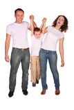 Family of three plays stock image