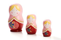 Family of three Russian dolls Royalty Free Stock Image