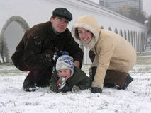 Family of three. snow. Royalty Free Stock Image