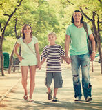 Family of three with teenager child Stock Photo