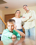 Family of three  with teenager having conflict Royalty Free Stock Photos