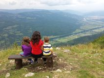 The family of three at the viewpoint Royalty Free Stock Photo