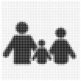 Family of three on a white. Background, halfton royalty free illustration