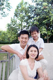 Family time. Outdoor portrait of asian family Royalty Free Stock Images