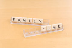 Family Time. Games Concept With Letter Tiles royalty free stock images
