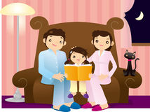 Family Time. Editable illustration of a little girl reading a book accompanied by her parents Stock Images