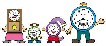 Family time. A cute illustration of a family made up of clocks Royalty Free Stock Images