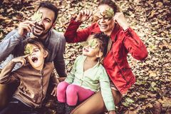 Family time at autumn season have fun. Happy family in nature Royalty Free Stock Images