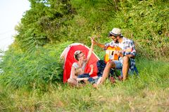 Family time, camping in nature royalty free stock photos