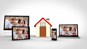 Family time at home montage. Shown on various devices stock video footage