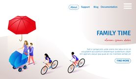 Family Time Horizontal Banner with Copy Space. Couple of Young Parents Walking with Baby Stroller Under Flying Umbrella. Man and Woman Riding Bicycles royalty free illustration