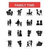 Family time illustration, thin line icons, linear flat signs, vector symbols  Stock Photography