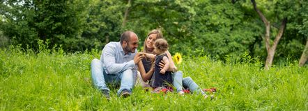 Family Time In Nature, Panorama Royalty Free Stock Photos