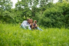 Family time in nature. Having picnic royalty free stock photo