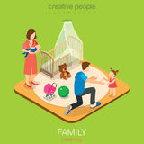 Family time parenting flat vector 3d dad room daughter mom son. Family time parenting flat 3d isometric web infographic concept. Dad in child room with daughter royalty free stock photography