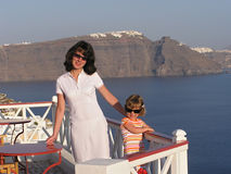 Family time on Santorini Stock Photos