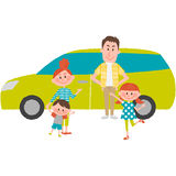 The family to go out by car. A vector illustration of the family to go out by car Stock Images