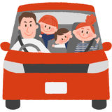 The family to go out by car. A vector illustration of the family to go out by car vector illustration