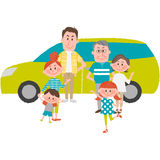 The family to go out by car. A vector illustration of the family to go out by car Royalty Free Stock Images