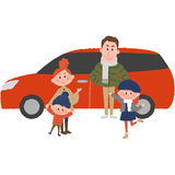 The family to go out by car. A vector illustration of the family to go out by car Stock Image