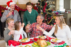 Family toasting each other at christmas Royalty Free Stock Image