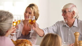 Family toasting at family dinner Royalty Free Stock Photo