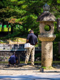 Family @ Todai-ji Temple, Nara, Japan. Father and son at the pond of the Todai-ji Temple Stock Photography